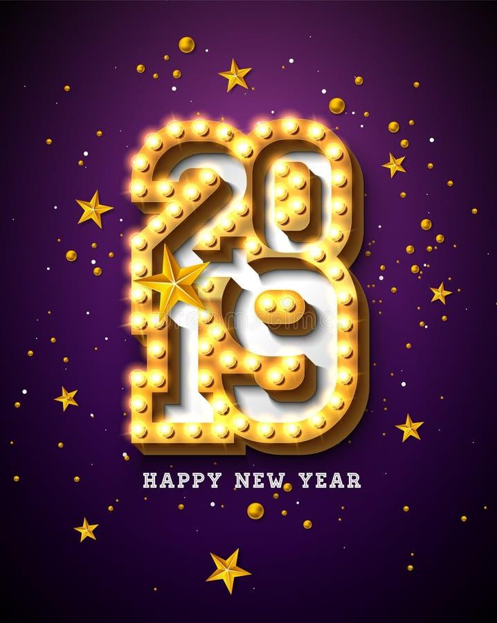 与3d电灯泡印刷术字法的2019新年快乐例证和在紫色背景的金星 节假日 向量例证