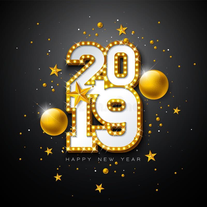 与3d电灯泡印刷术字法的2019新年快乐例证和在黑背景的圣诞节球 节假日 库存例证