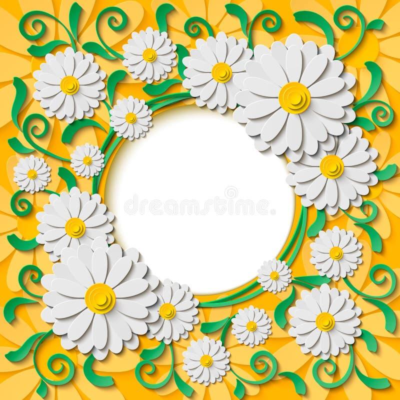与3d白皮书的美好的圆的框架删去了春黄菊和绿色叶子 皇族释放例证