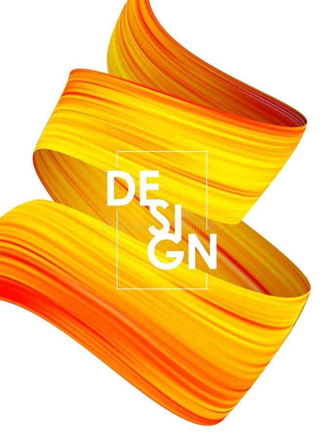 与3d的夏天抽象海报背景扭转了流程液体形状 丙烯酸酯的刷子油漆设计 库存例证