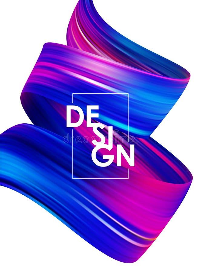 与3d的抽象海报背景扭转了颜色流程液体形状 丙烯酸酯的刷子油漆设计 皇族释放例证