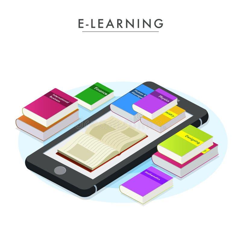 与3D的电子教学概念在巧妙的电话预定 皇族释放例证