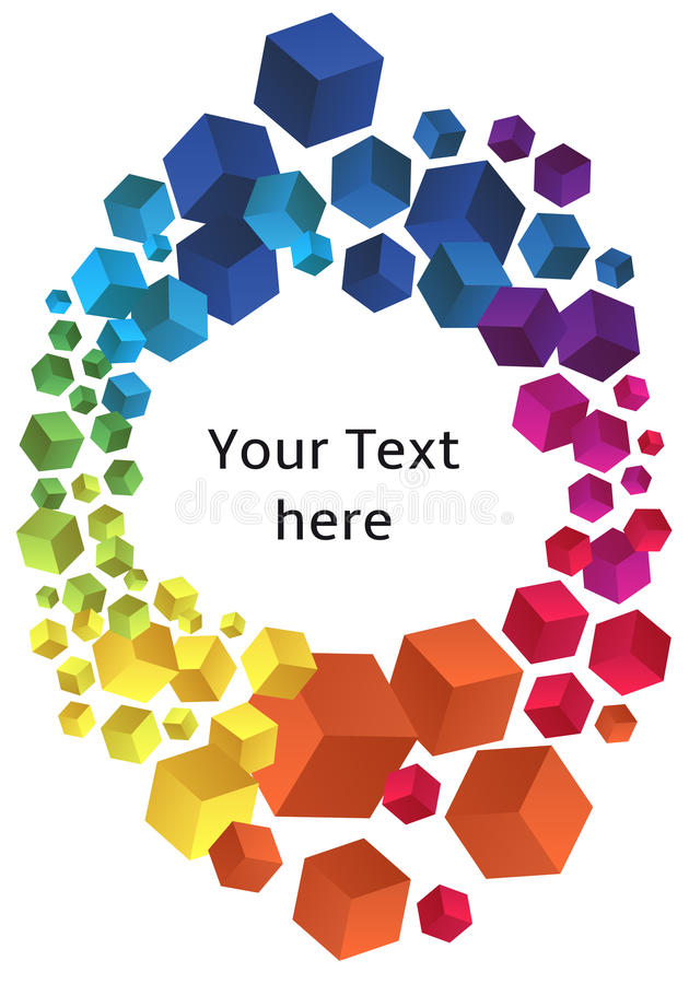 与3D立方体的框架,传染媒介 库存例证