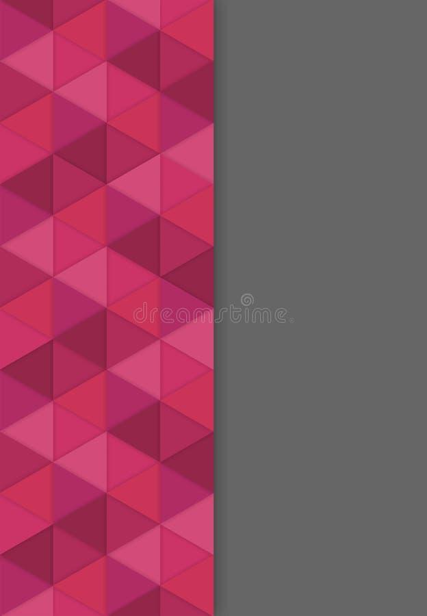 与3D红色三角的作用-例证的抽象背景 库存例证
