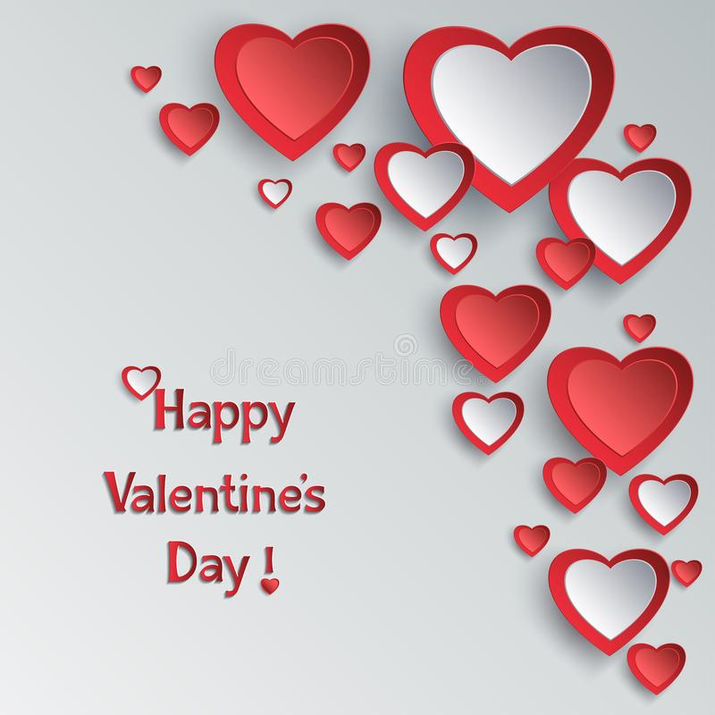 与3d纸心脏的情人节背景 库存例证
