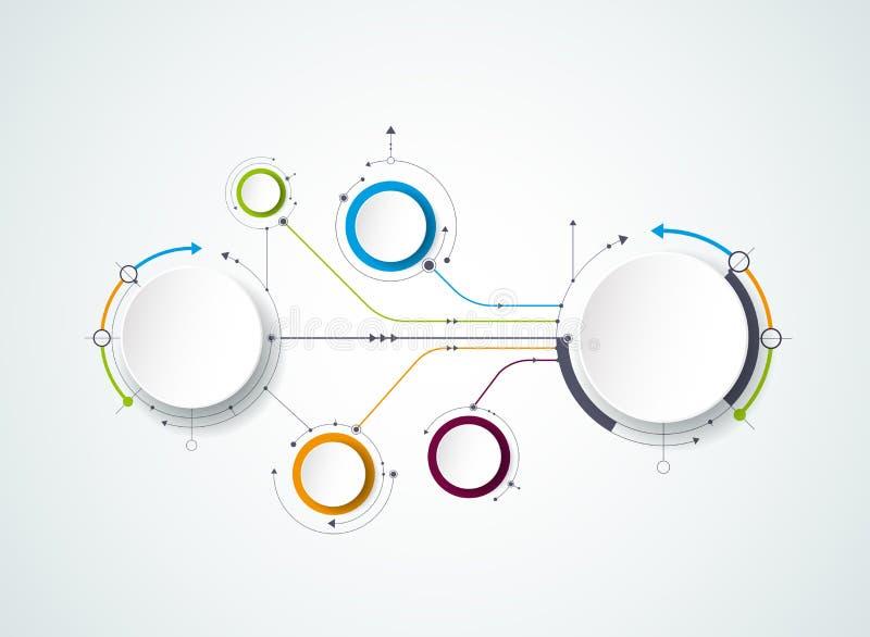 与3D纸标签的传染媒介抽象分子,联合圈子 内容的空白 向量例证