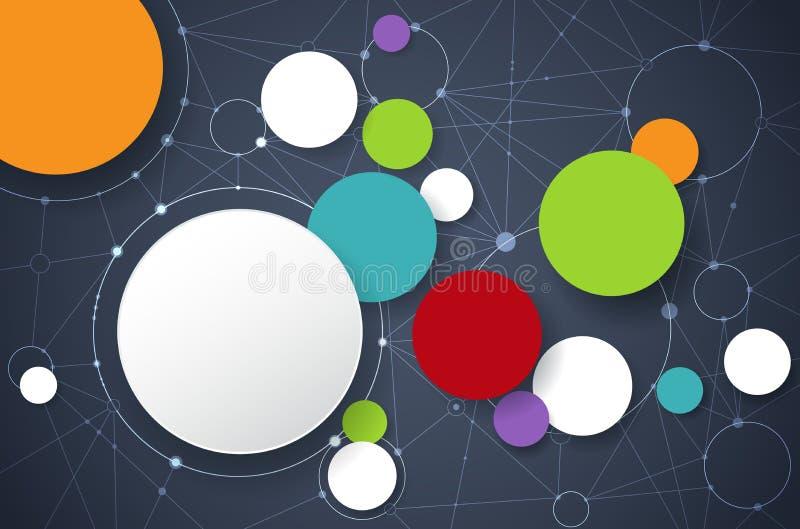与3D纸标签的传染媒介抽象分子 库存例证