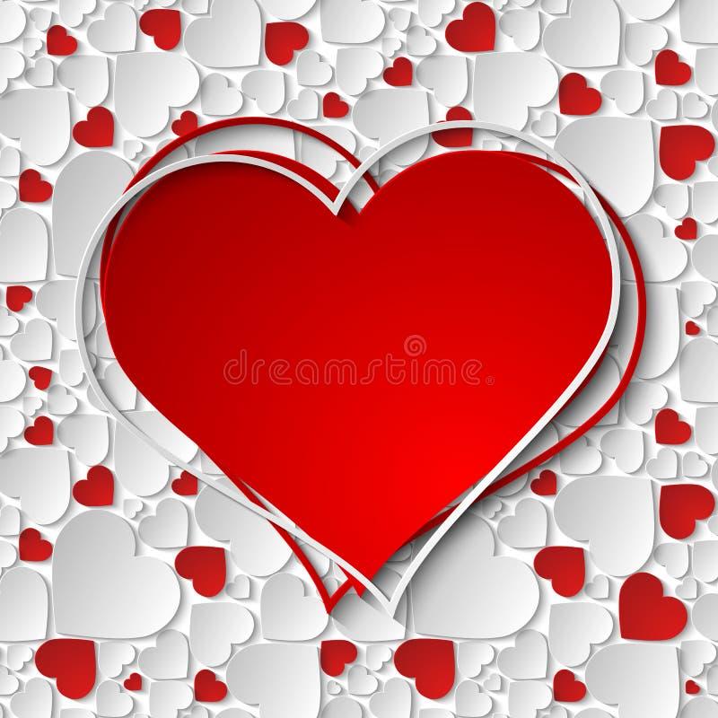 与3d纸的美好的红色和白色心脏框架删去了心脏 皇族释放例证