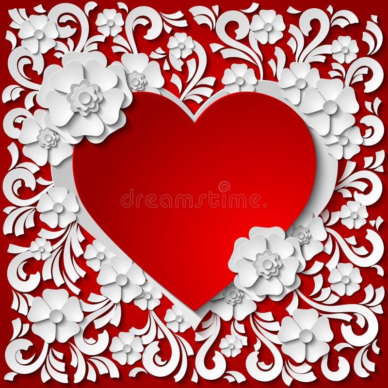 与3d纸的美好的红色和白色心脏框架删去了花 库存例证