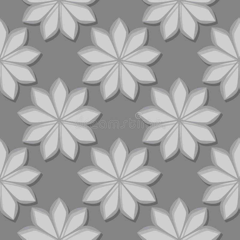 与3d花卉元素的无缝的灰色背景 向量例证