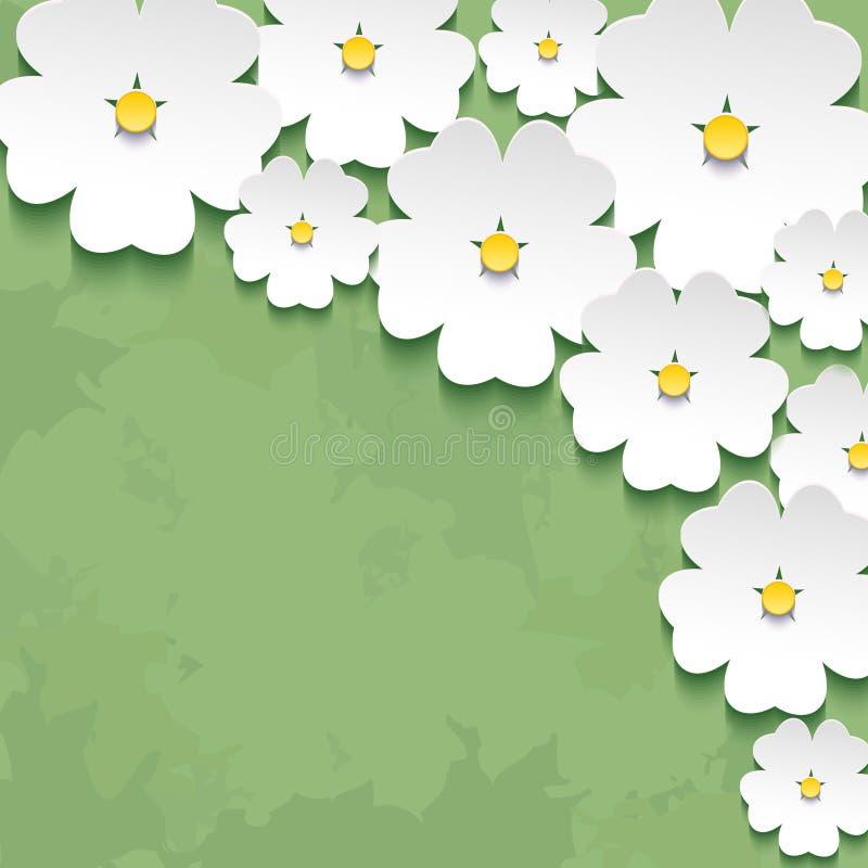 与3d花sak的葡萄酒花卉绿色背景 向量例证