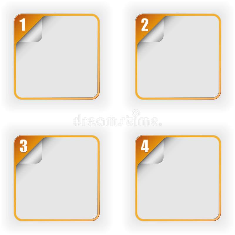 与3D页卷毛的四个选择模板 向量例证