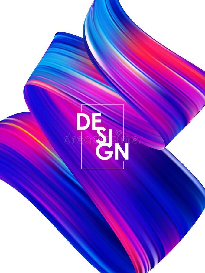 与3d颜色流程液体形状的现代抽象海报背景 丙烯酸酯的刷子油漆设计 库存例证