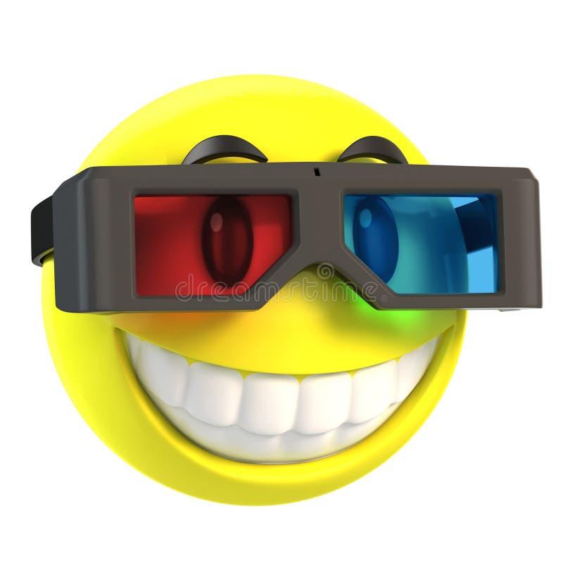 与3d玻璃的面带笑容 库存例证