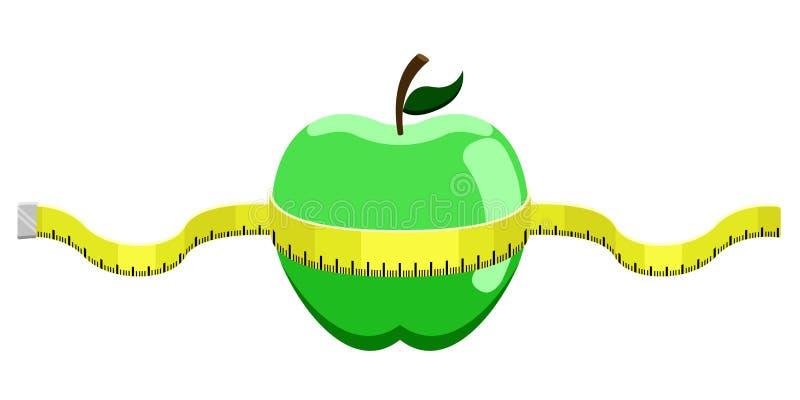 与A测量的磁带的绿色苹果计算机 皇族释放例证