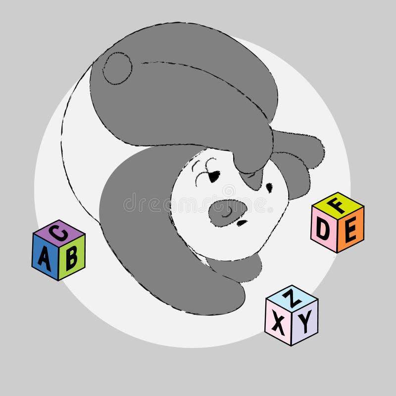 与ABC砖的逗人喜爱的熊猫在学校或幼儿园 向量例证