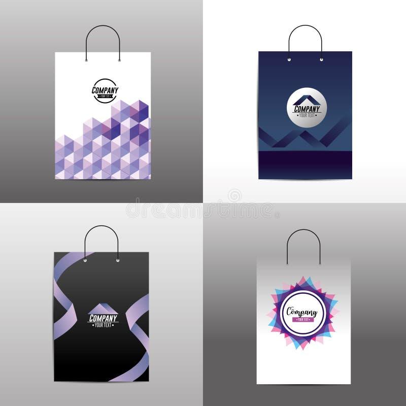与accesory公司的袋子的集合固定式模板 皇族释放例证