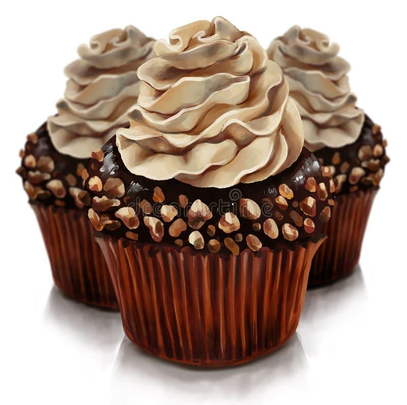与amaretto奶油顶部的巧克力松饼 免版税库存照片
