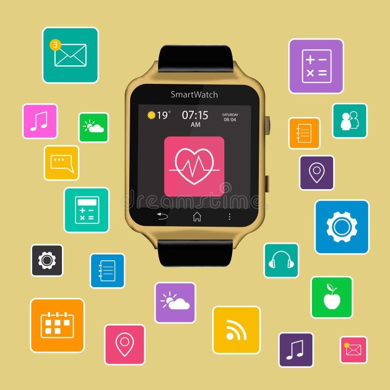 与app象的聪明的手表设备显示 隔绝在金背景 库存照片