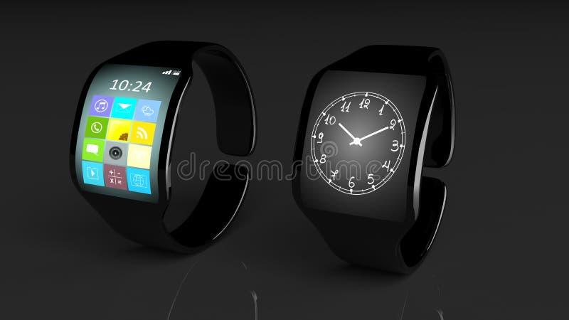 与apps的两在屏幕上的smartwatches和时钟 皇族释放例证