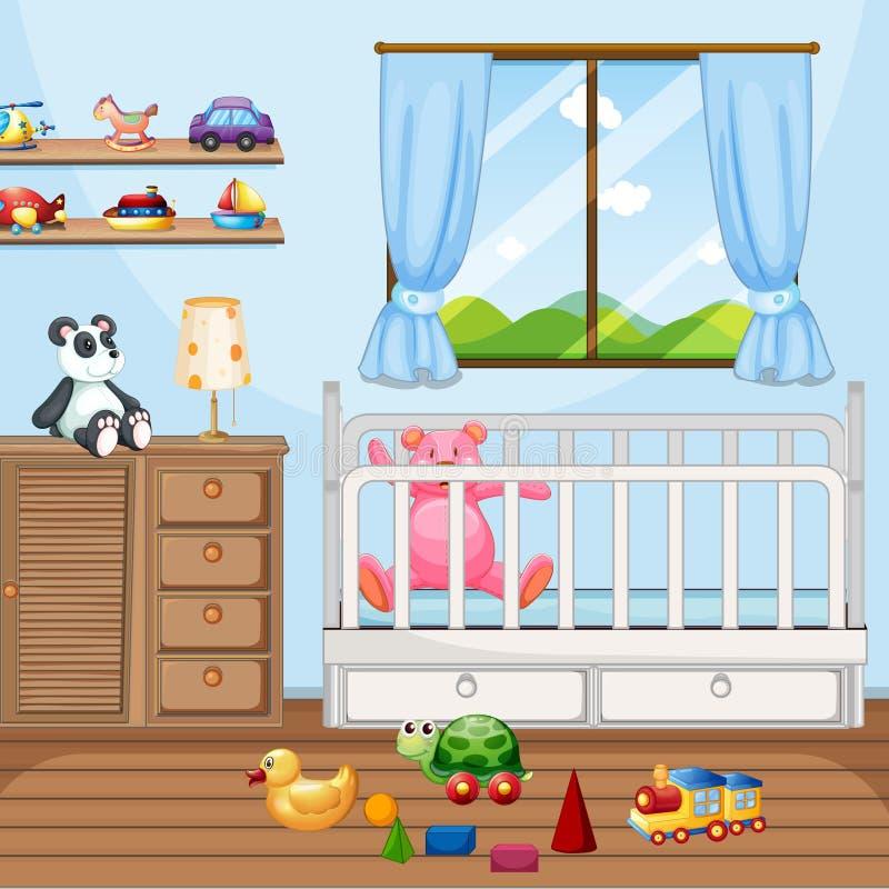 与babycot和许多玩具的卧室场面 库存例证