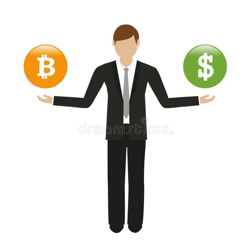 与bitcoin和美元按钮的商人 皇族释放例证