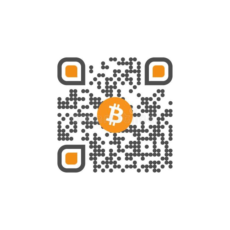 与bitcoin标志标志的QR代码互联网无钱的金钱的 隐藏货币符号图象用于互联网交易 皇族释放例证