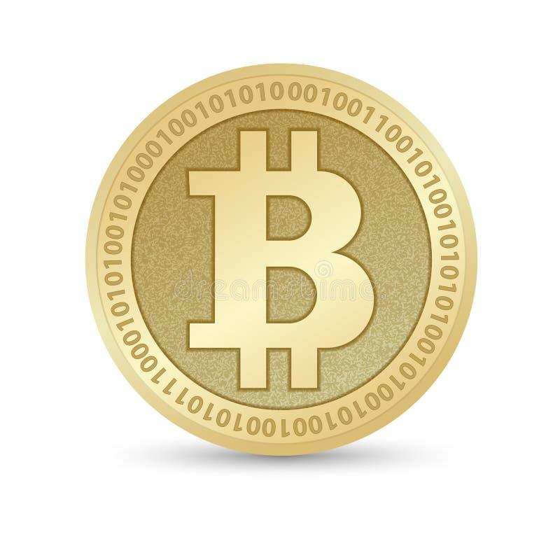与Bitcoin标志的数字式Bitcoin金黄硬币在电子环境里铸造ryptocurrency物理色的bitcoin 皇族释放例证