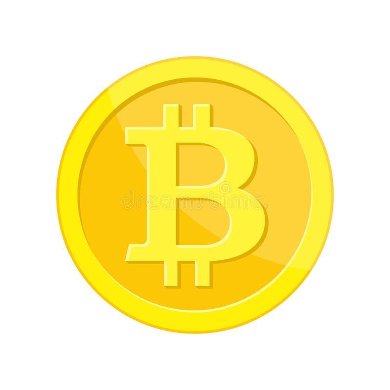 与bitcoin标志的金黄硬币 皇族释放例证