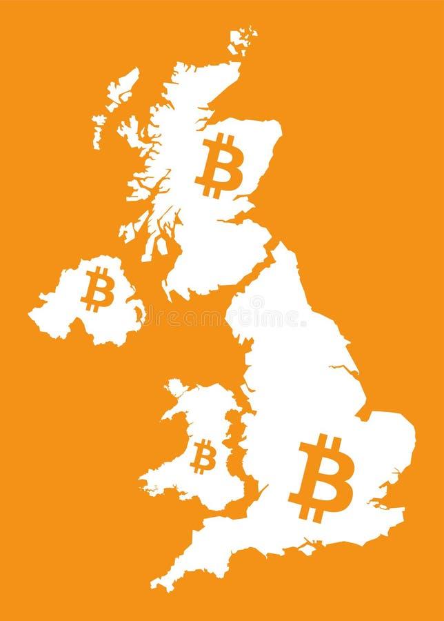与bitcoin隐藏货币符号illustrat的英国地图 向量例证