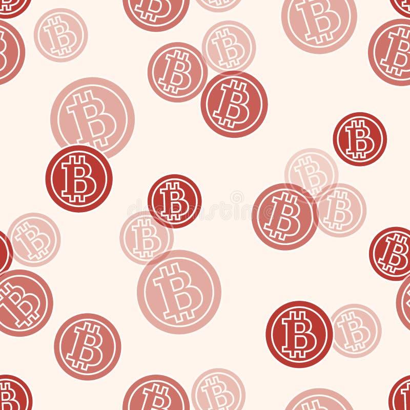 与bitcoins的无缝的样式 财务和真正货币 向量例证