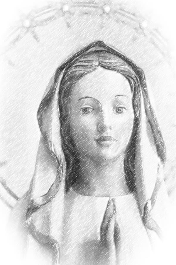 与Blessed圣母玛丽亚小插图的铅笔剪影  图库摄影