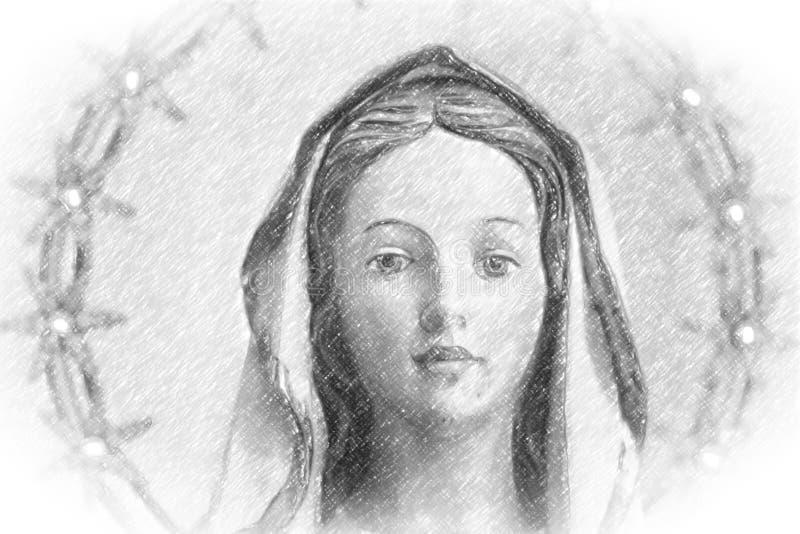 与Blessed圣母玛丽亚小插图的铅笔剪影  免版税库存图片