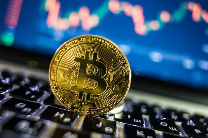 与blockchain概念的金黄Bitcoin货币在有硬币的膝上型计算机键盘和图和图表 隐藏的投资安全 图库摄影