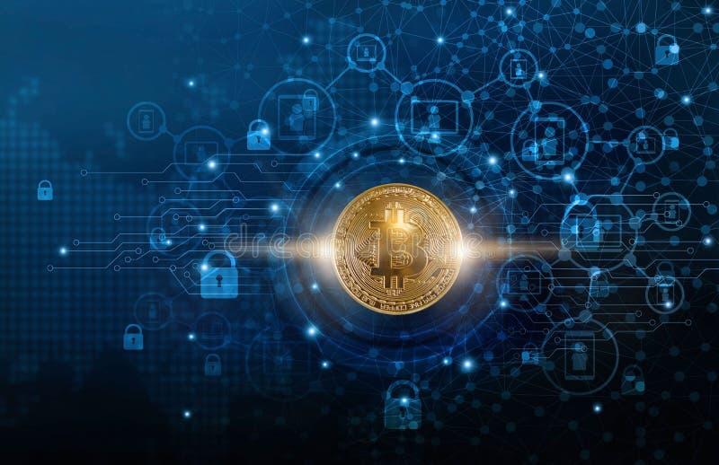 与blockchain网络连接的Bitcoin cryptocurrency和在全球性虚屏上的微型电路象 Blockchain的技术 向量例证