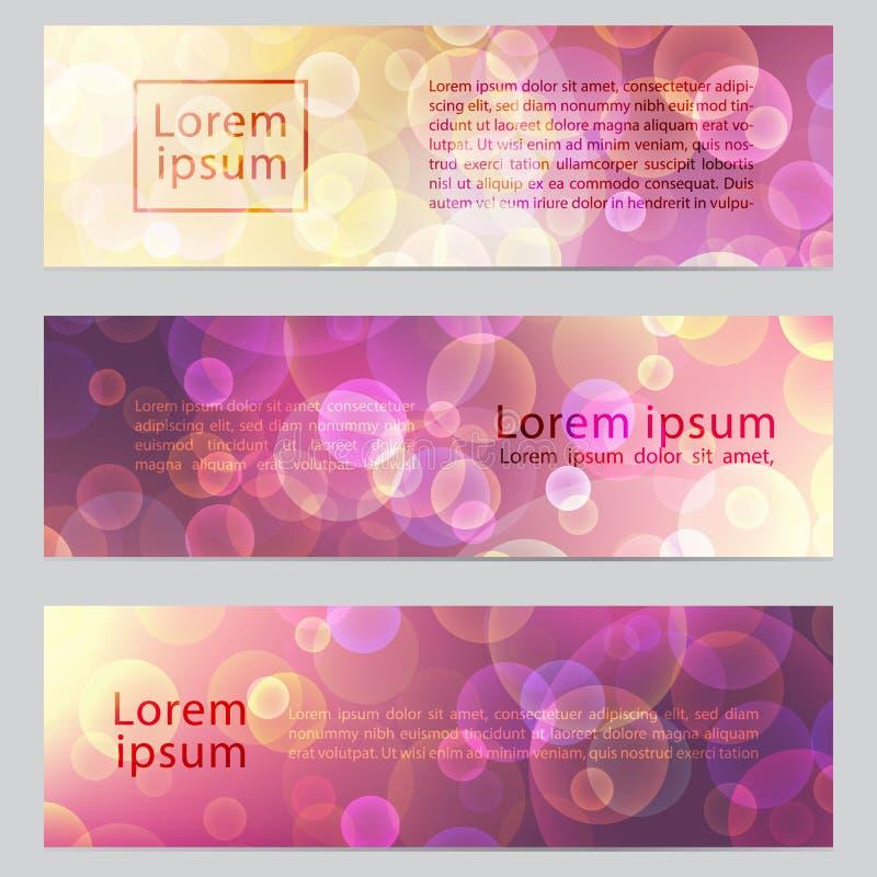 与bokeh作用的传染媒介抽象横幅 与照明设备党主题的水平的横幅 网的五颜六色的背景 向量例证