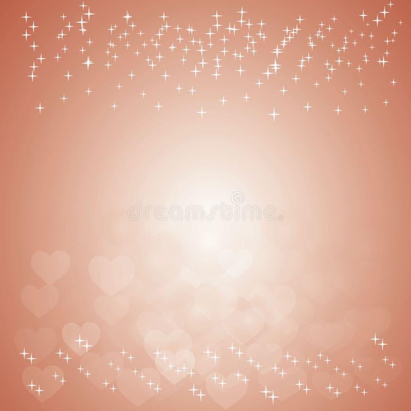 与bokeh心脏和闪闪发光的橙色背景 库存图片