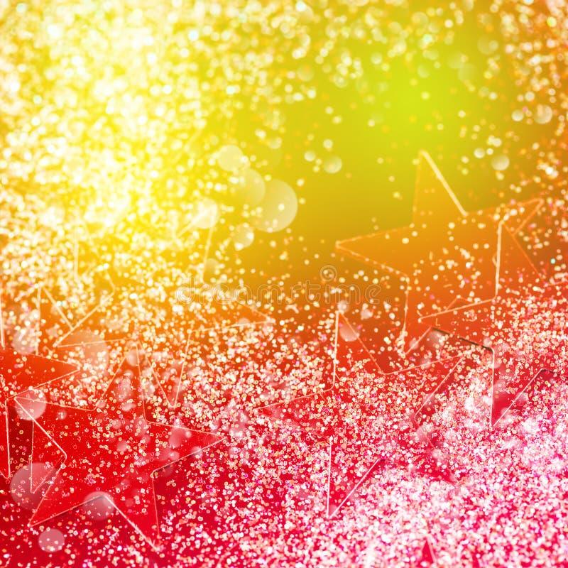 与Bokeh的五颜六色的圣诞晚会背景 免版税库存图片