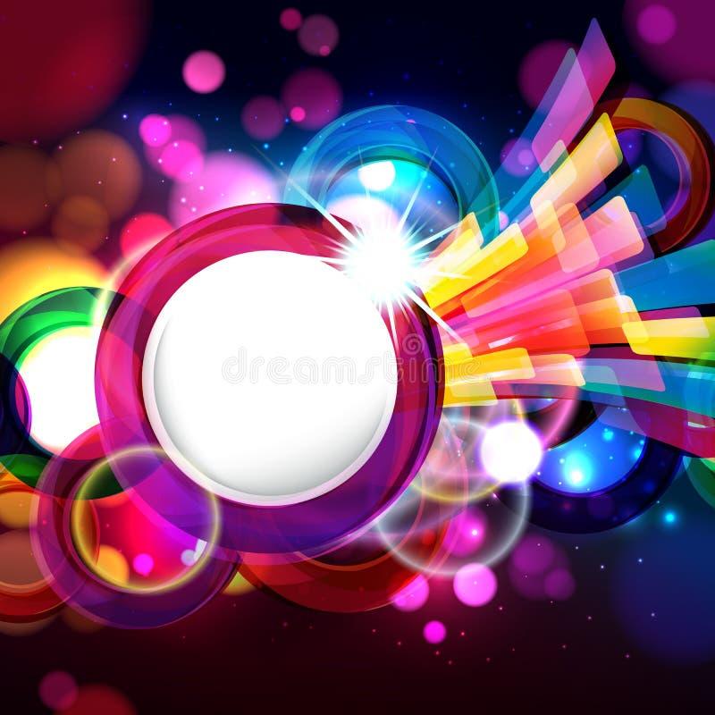 与bokeh defocused光的五颜六色的抽象背景 您的文本的圆的横幅 库存例证