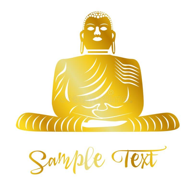 与Budha的例证在与花的瑜伽题材 库存例证