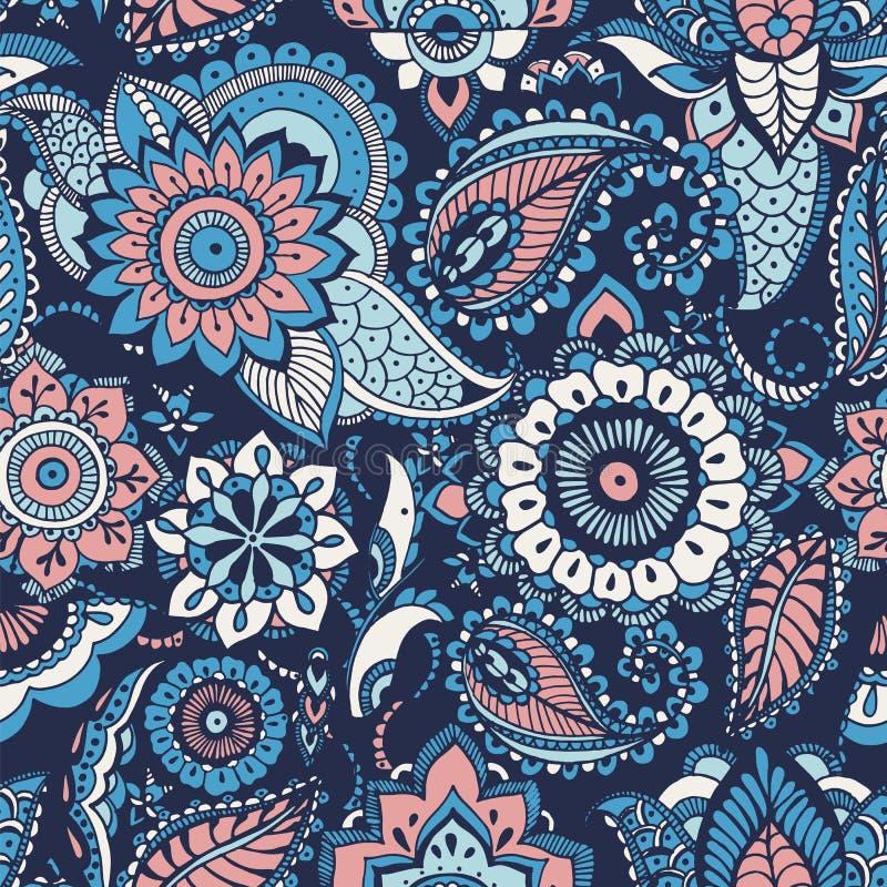 与buta主题和阿拉伯花卉mehndi元素的土耳其语佩兹利无缝的样式在蓝色背景 五颜六色 向量例证
