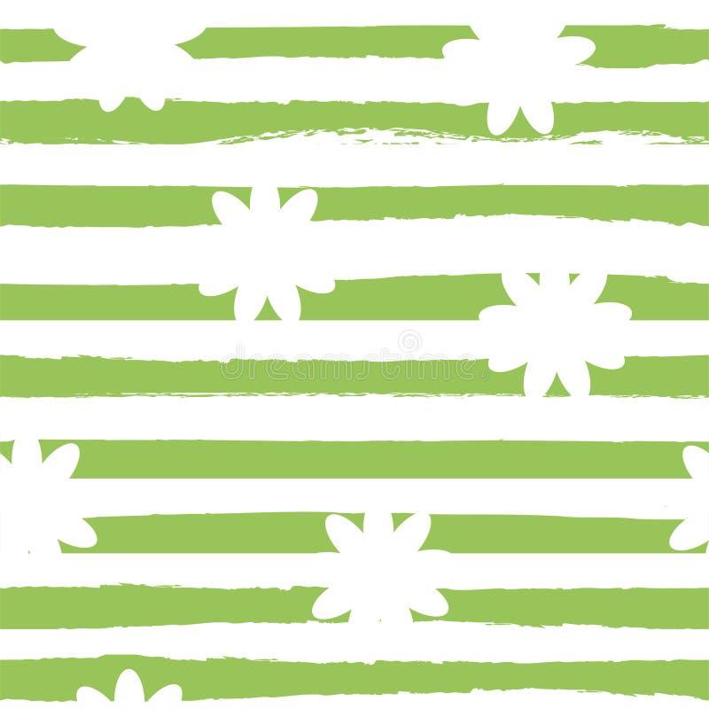 与camomiles和绿色条纹的花卉无缝的样式 向量 库存例证