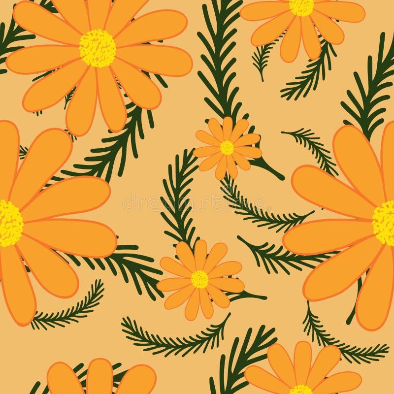 与camomiles花的明亮的夏天背景 无缝花卉的模式 也corel凹道例证向量 皇族释放例证