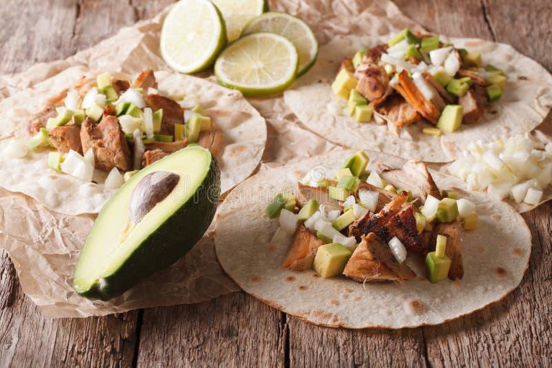 与carnitas、葱和鲕梨特写镜头的墨西哥炸玉米饼 horizo 免版税库存照片