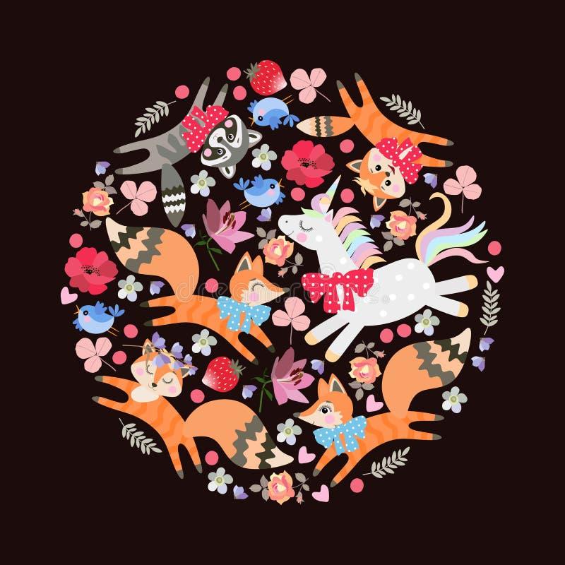 与cherrful动物的圆的样式:小猫、狐狸、浣熊和独角兽 百合,鸦片,上升了花、莓果、叶子和心脏 皇族释放例证