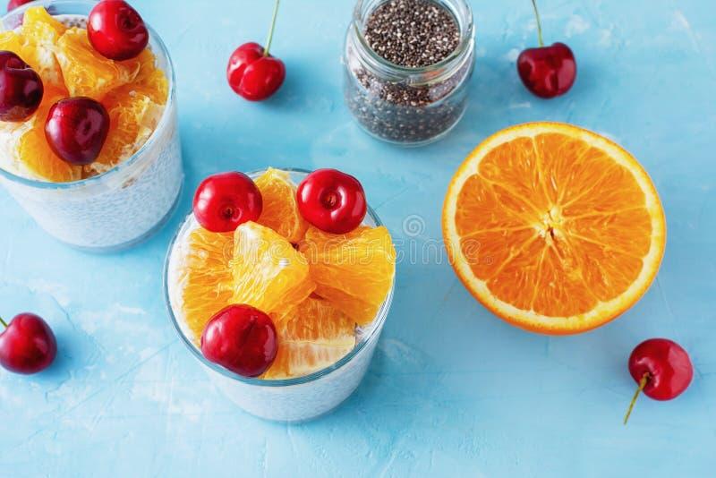 与Chia的酸奶播种清早早餐 图库摄影