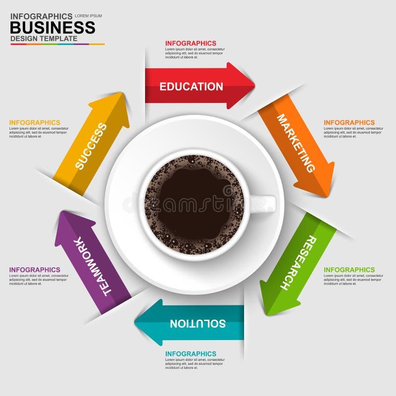 与cofee杯子的抽象3D数字式企业时间安排Infographic 向量例证