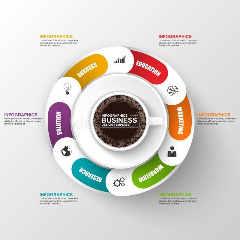 与cofee杯子的抽象3D数字式企业时间安排Infographic 库存例证