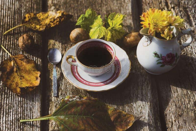 与coffe的秋天心情 库存照片