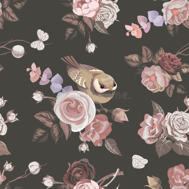 与colorfull束的花卉无缝的样式玫瑰和逗人喜爱的小的鸟在背景 在减速火箭的传染媒介例证 皇族释放例证